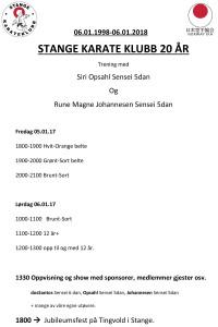 20ÅR STANGE KARATEKLUBB Tidsplan